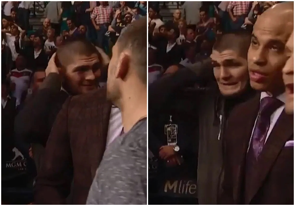 Biểu cảm dường như bị sốc củaKhabib khi chứng kiến mànknock out của Conor McGregor trước Jose Aldo.