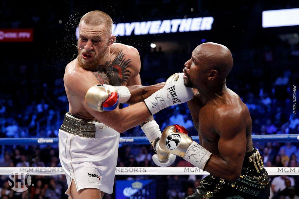 McGregor không tạo ra nhiều uy hiếp trong cuộc đối đầu với Floyd Mayweather năm 2017.