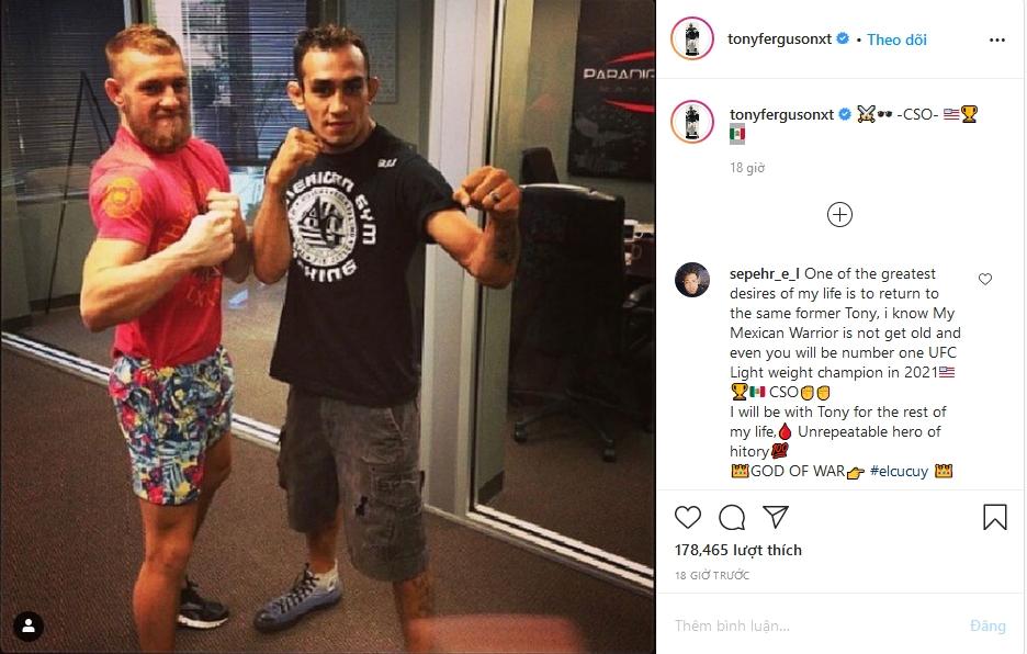 Tony Ferguson đăng tải thông điệp trên Instagram. Ảnh chụp màn hình.