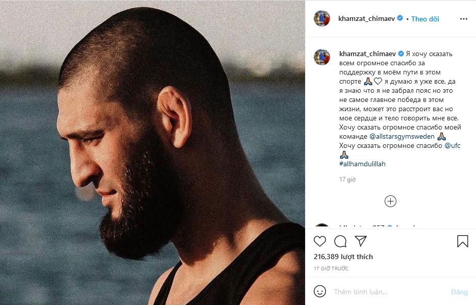 Bài đăng khó hiểu của Khamzat Chimaev. Ảnh chụp màn hình.