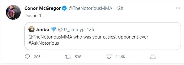 Conor McGregor trả lời câu hỏi về trận đấu dễ nhất trong sự nghiệp MMA của mình. Ảnh chụp màn hình.