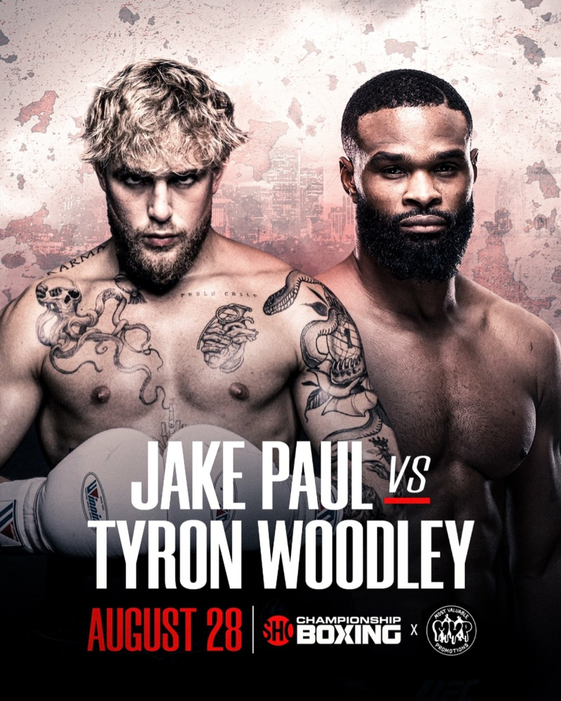 Jake Paul sẽ đấu với Tyron Woodley vào ngày 28 tháng 8 tới.