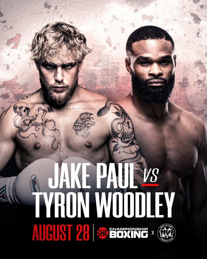 Jake Paul sẽ đối đầu Tyron Woodley trên võ đài quyền anh vào ngày 28/08.
