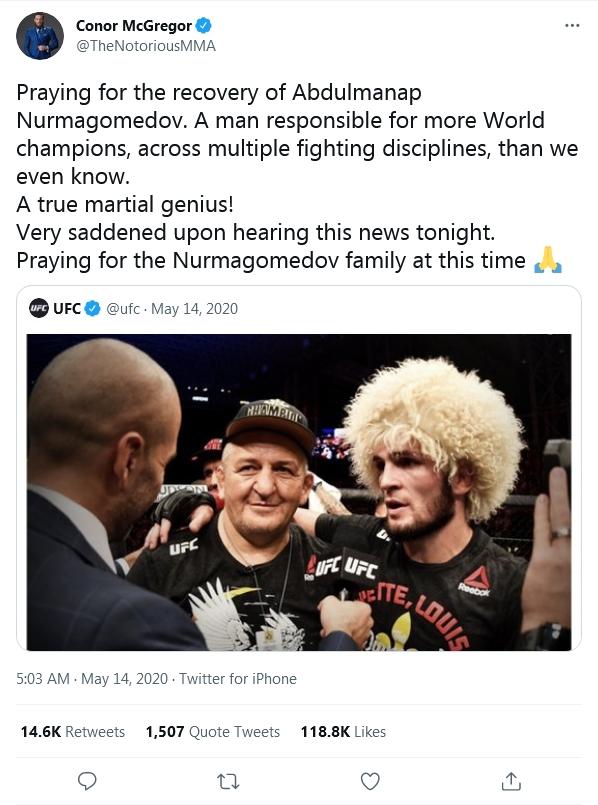 Conor McGregor từng nhận nhiều lời ca ngợi vì bài đăng ủng hộ Abdulmanap Nurmagomedov trong cuộc chiến chống lại COVID-19. Ảnh chụp màn hình.