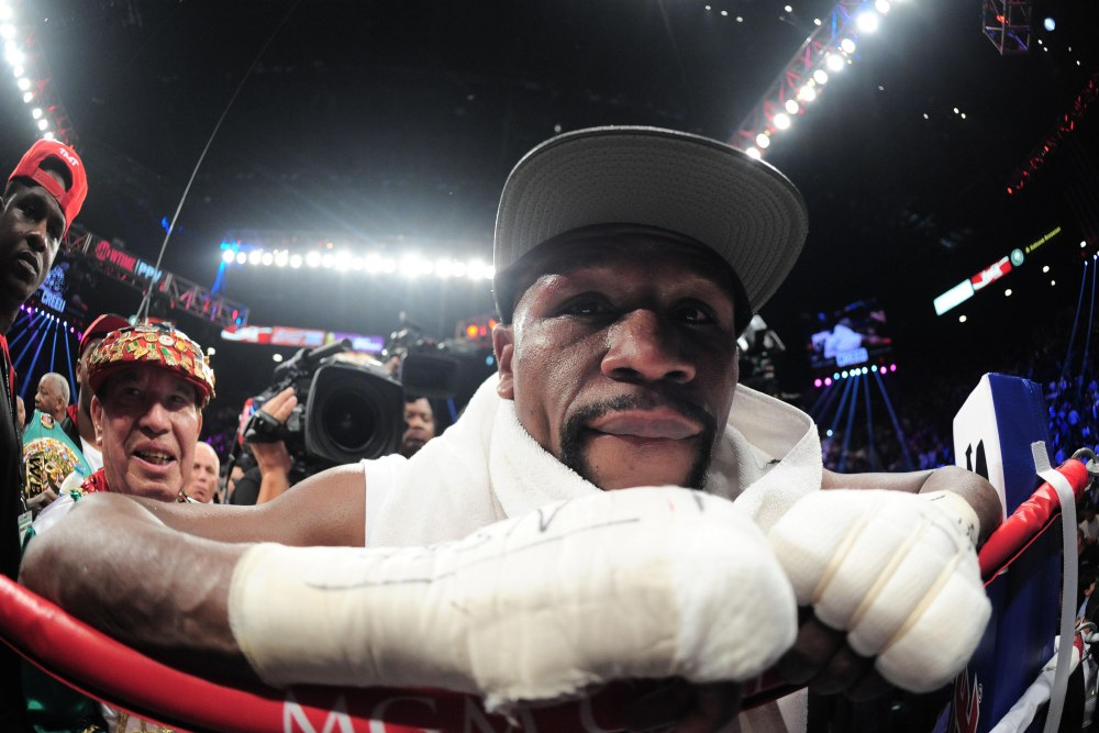 Sep 12, 2015; Las Vegas, NV, USA; Floyd Mayweather reacts after his WBA/WBC welterweight title bout with Andre Berto (not pictured) at MGM Grand Garden Arena. Mayweather won via unanimous decision. Mandatory Credit: Joe Camporeale-USA TODAY Sports