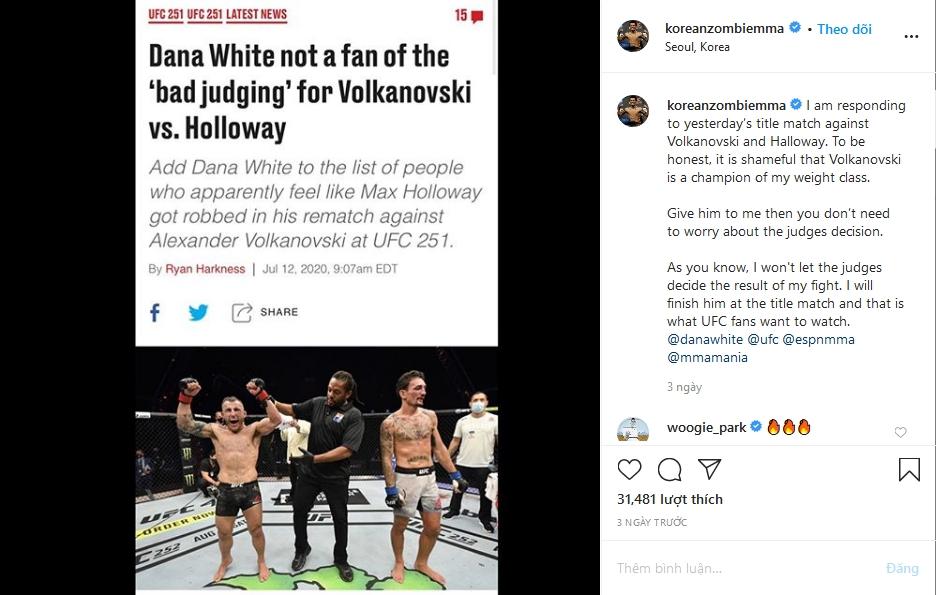 Zombie Hàn Quốc buông lời thách thức Alexander Volkanovski.