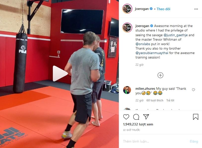 Bình luận viênJoe Rogan đăng tải đoạn video tập luyện và phát biểu củaKhabib Nurmagomedov.