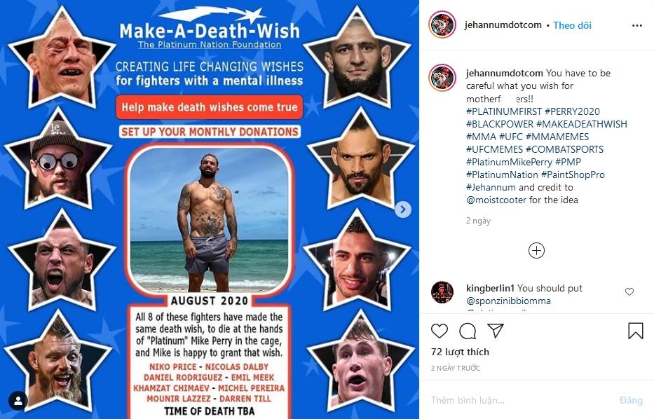 Mike Perry bị cáo buộc chia sẻ hình ảnh trên 1 tài khoảnmạng xã hội chuyên về meme UFC.