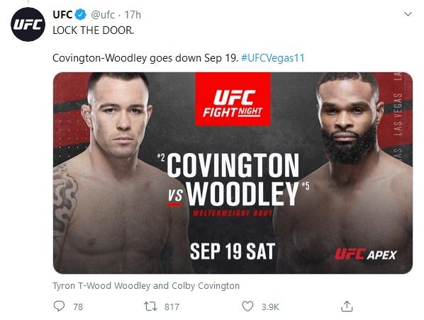 Covington vàWoodley đối đầu tại sự kiện chínhUFC Vegas 11.