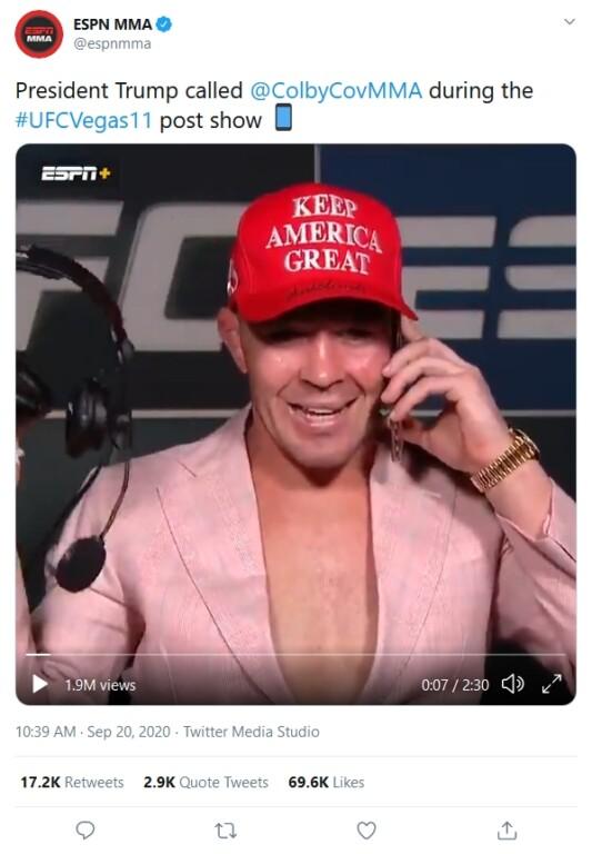 Covington nhận cuộc điện thoại chúc mừng từ Tổng thống Donald Trump ngay trong phòng họp báo sau cuộc chiến ở UFC Vegas 11.