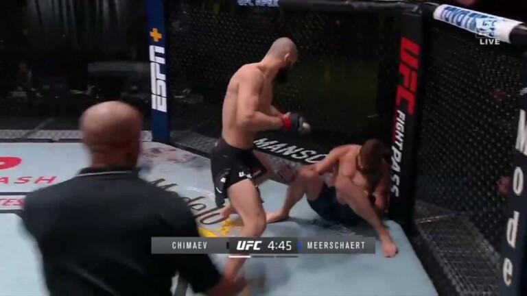Khamzat Chimaev chỉ mất 17 giây để knockout Gerald Meerschaert tại UFC on ESPN + 36.