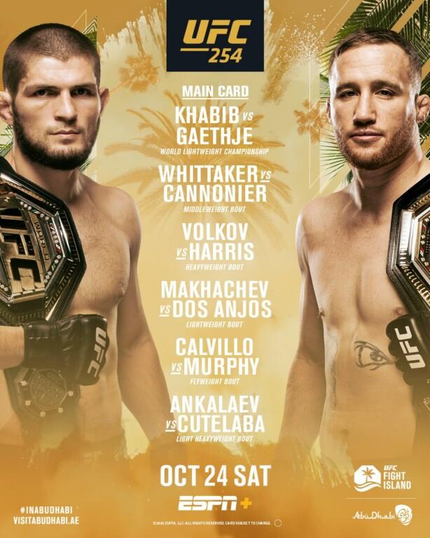Chi tiết các cặp đấu tại sự kiện chính UFC 254.