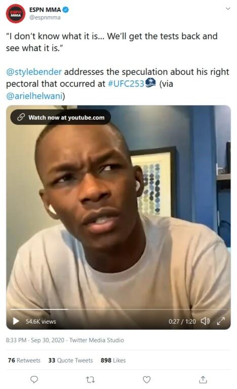 Israel Adesanya tiết lộ trên ESPN.