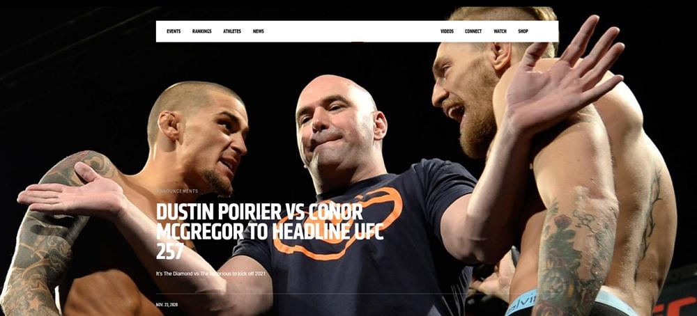 UFC chính thức công bố trận tái đấu giữa Conor McGregor và Dustin Poirier. Ảnh chụp màn hình.
