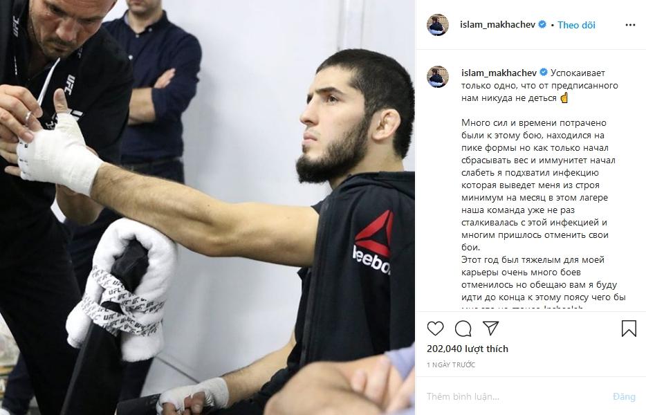 Islam Makhachev xác nhận việc nhiễm trùng tụ cầu và rút lui khỏi cuộc chiến với Dos Anjos trên instagram. Ảnh chụp màn hình.